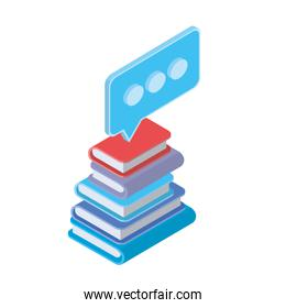 stack of books with speech bubble on white background