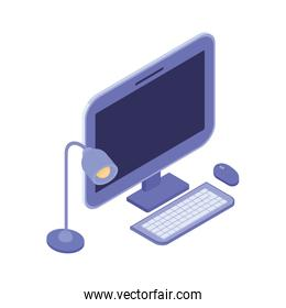 desktop computer screen with keyboard and mouse