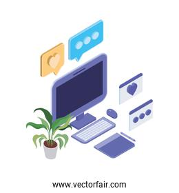 set of icons with desktop computer screen