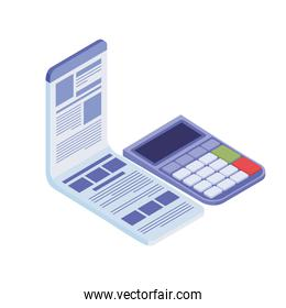 calculator with sheet of paper on white background