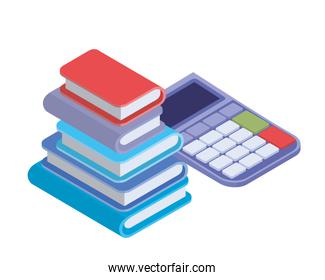 calculator with stack of books in white background