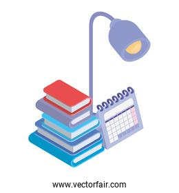 stack of books with office objects on white background