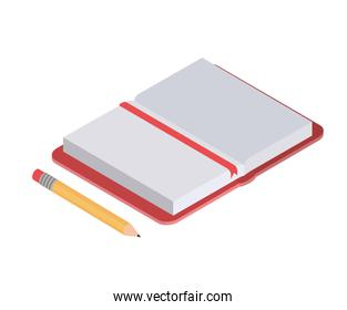 book of school with pencil on white background