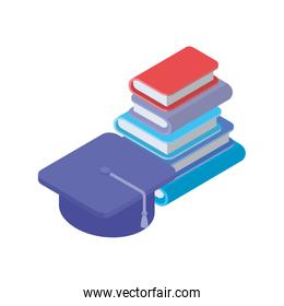 stack of books with graduation hat on white background