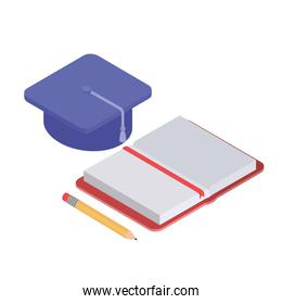 book of school with pencil and graduation hat on white background