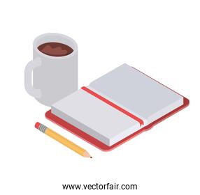 book of school with pencil and cup of coffee on white background
