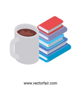 stack of books with cup of coffee on white background
