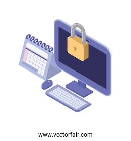 desktop computer screen with security padlock on white background