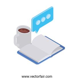 book of school with cup of coffee on white background