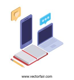 laptop and smartphone with speech bubble on white background