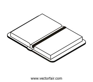 silhouette of book of school open with white background