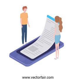 couple of people with smartphone screen and sheets of paper