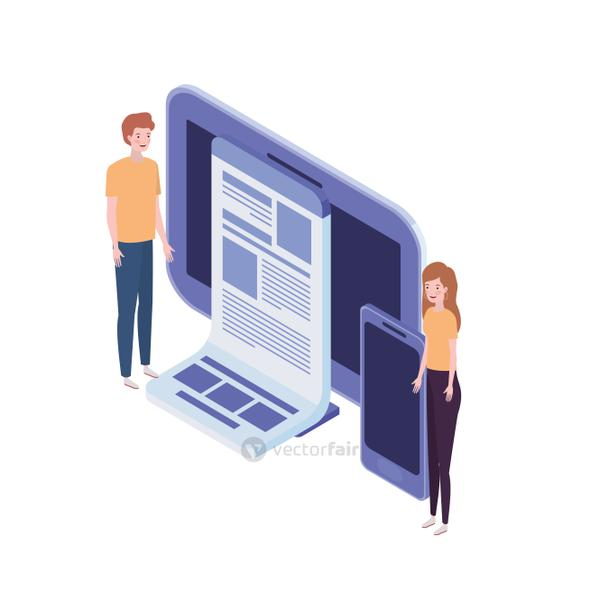 couple of people with computer screen and smartphone in white background