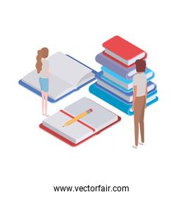 couple   with stack of books on white background