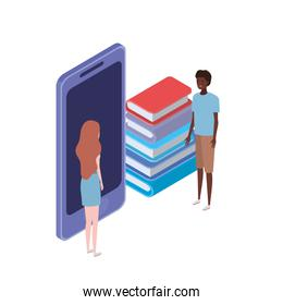 couple of people with smartphone and stack books on white background