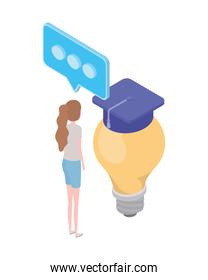 woman with light bulb and graduation hat on white background