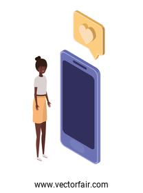 woman with smartphone screen and email notifications