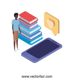 man with smartphone screen and stack books on white background