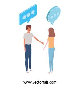 couple of people standing with speech bubble on white background