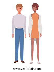 couple of people standing on white background