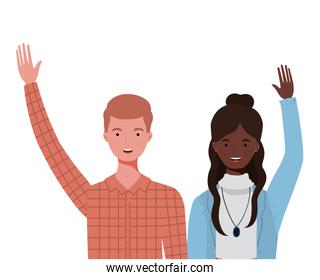 couple of people smiling on white background