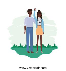 couple of people standing with landscape background