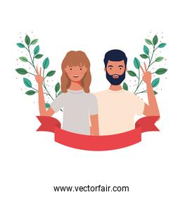 couple of people with landscape of branches and leaves of background