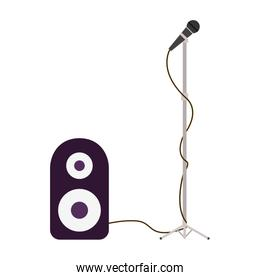 stereo speaker with microphone on white background