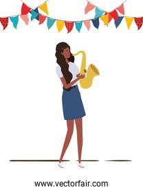 young woman with saxophone on white background