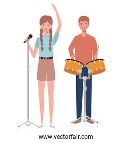 couple of people with musicals instruments on white background