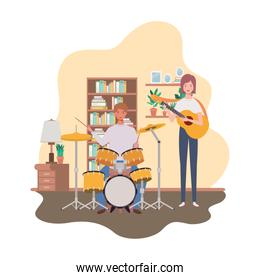 couple of people with musicals instruments in living room