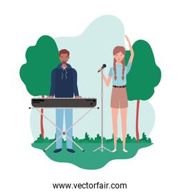 couple of people with musicals instruments and background landscape