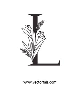 letter of the alphabet with leaves