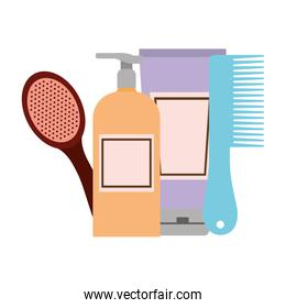 professional hairdressing tools on white background
