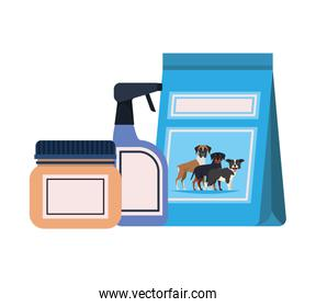 food bag and containers for pet grooming