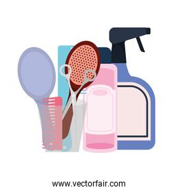 pet grooming set on white background