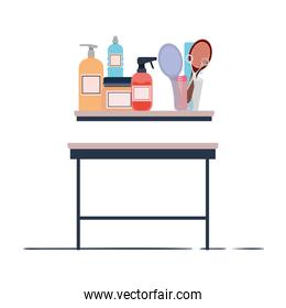pet grooming table on white background