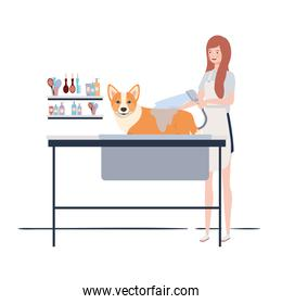young woman with dog in pet groomer