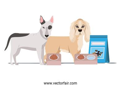 dogs with bowl and pet food on white background