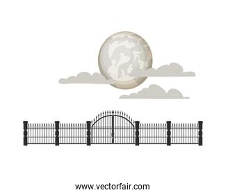 full moon with clouds and iron railings