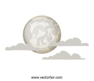 full moon with clouds on white background