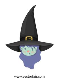 cute little girl head with witch costume