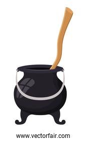 witch cauldron pot and wooden mixer