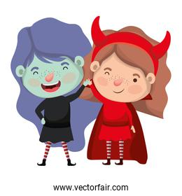 cute little girls with witch and devil costume