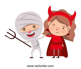 cute little kids with mummy and devil costume