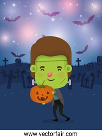 halloween season scene with boy costume frankenstein