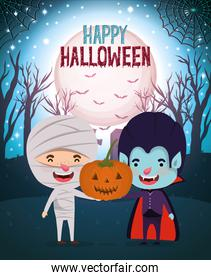 halloween card with kids costumed in the dark night scene