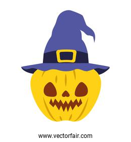 halloween pumpkin with dark face and witch hat