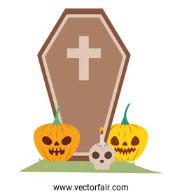 halloween pumpkins with dark face and coffin