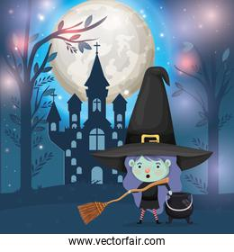 halloween season scene with girl costume witch